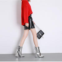 SILVER★ metallic  heal  short   boots  sho-113