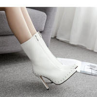 WHITE★ side rhinestone  short  boots  sho-122