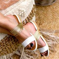 WHITE★gold  flat  sandal  sho-16