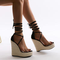 BLACK♡simple  wedge  sole   sandal  sho-61