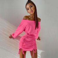 PINK★one  shoulder  dress  one-358