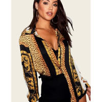 leopard gold ♡long shirt dress  one-60