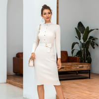 WHITE★rib  belt  dress  one-203