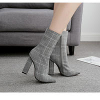 glen checked★  short  boots  sho-101