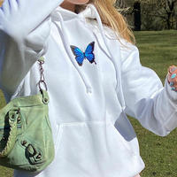 WHITE★butterfly  hoodie   top-164