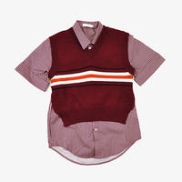 DELADA | SHIRT WITH HANGING VEST | BERRY STRIPE & BERRY RED