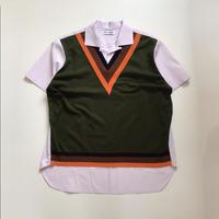 TTT_MSW | knit vest docking shirt  | pink