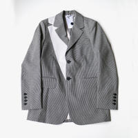 DELADA | SINGLE BREASTED BLAZER WITH LAPEL DETAIL | DOGTOOTH & NYLON STRIPE