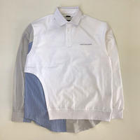 FENG CHEN WANG | POLO CONTRAST WITH SHIRT COLLAR  | WHITE&BLUE STRIPE