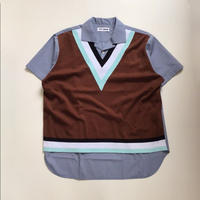 TTT_MSW | knit vest docking shirt  | blue