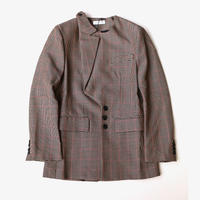 DELADA | UNISEX ASYMMETRICAL LAPEL BLAZER | BROWN CHECK