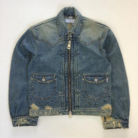 sugarhill | ZIP-UP DENIM DAMAGED JACKET | Faded Indigo