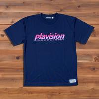 ハーフカット定番ロゴTシャツ(ネイビー×ホットピンク)