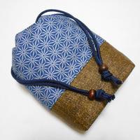 デニム製 #信玄袋 #合切袋 #竹節麻の葉 銀 着物 浴衣 作務衣 祭り