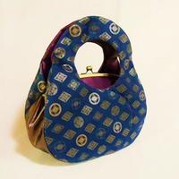 #可愛らしいあおり型手提げバッグ #七宝 チノクロス・本革製 墨銀・金・銀