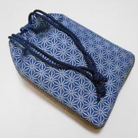 デニム製 信玄袋 合切袋 竹節麻の葉 銀 手提げ袋 巾着袋 和装 着物 浴衣 作務衣
