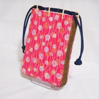 帆布赤ピンク製 ショルダー付き #信玄袋 #合切袋 小 渦巻き ポップ 着物 浴衣 作務衣 祭り
