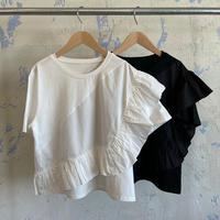 SP80106 布帛フリル×ストレッチTシャツ