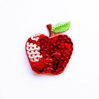 アイロンワッペン【スパンコール林檎 Apple】アメリカ