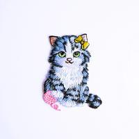 アイロンワッペン【ネコ リボン 猫 Cat】アメリカ