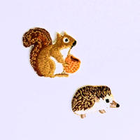 アイロンワッペン【ハリネズミとリス 2枚セット】ドイツ