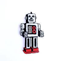 アイロンワッペン【ロボット シルバー】アメリカ