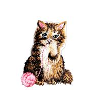 アイロンワッペン【毛糸 シマ猫】アメリカ