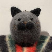 まんまる猫  キーホルダー  《ダークグレー》