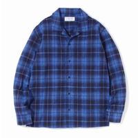 "SANDINISTA ""Open Collar Check Shirt""/サンディニスタ""オープンカラーチェックシャツ"" (ブルー)"