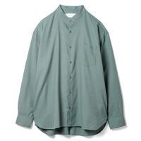 """SANDINISTA """"Band Collar Cotton Wool Shirts"""" / サンディニスタ """"バンドカラーシャツ"""" (スモークグリーン)"""