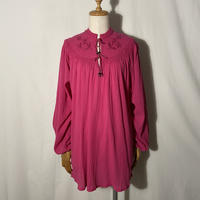 """used&vintage """"embroidery gauze blouse"""" (ピンク)"""