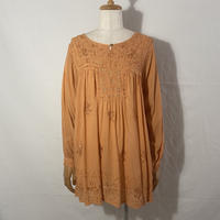 """used&vintage """"embroidery rayon tunic"""" (オレンジ)"""