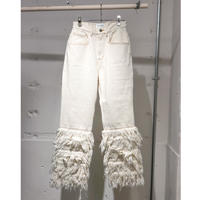 BELPER  FRINGE DENIM  PANTS