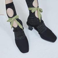 BANSAN  RIBBON Lame Socks PISTACHIO