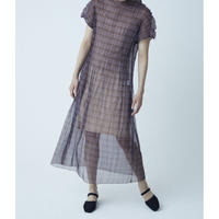 BANSAN Mix Pleat See-through Long Dress - CHECK BROWN