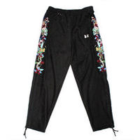 doublet  20AW20PT135 CHAOS EMBROIDERY SUEDE TRACK PANTS (BLACK)