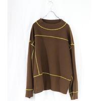 osakentaro big stitch  pullover brown yellow