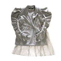 SHIROMA 21S/S tulle docking Cord lock Jacket (gray) S-BM-J04A