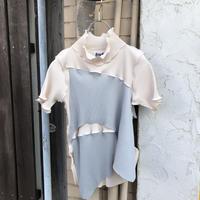 kotohayokozawa  Pleats top short-sleeve,high neck    TDKT-P04