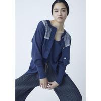 BANSAN  2Peace Knit Set Cotton Cardigan & Sleeveless Top - DENIM