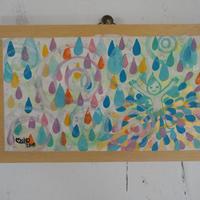 プチ日本画 雨のダンス