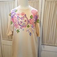 ビッグTシャツ☆猫とお花のナチュラル可愛い手描きTシャツ♪