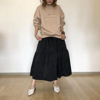 volume tired skirt-black-