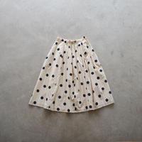 NATIVE VILLAGE/Dots print ラウンドカットロングスカート (Lady's/beige+navy dots)
