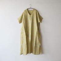 Vlas Blomme / Scenery Linen Check アシンメトリーポケット前開きワンピース(Lady's/イエロー)