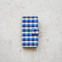 伊勢木綿スマホケース(iPnoneX/XS)  格子/青濃紺