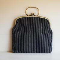 ichiガマ 鞄  小縞もの/黒