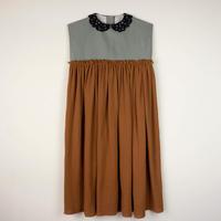 【POPELIN】 BROWN guipure neckline dress(サイズ10Y、12Y)
