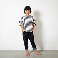【pilkku】BIG DOTデニム サルエルパンツ サイズS(100-110cm )