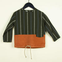 【POPELIN】Two-tone orange shirt